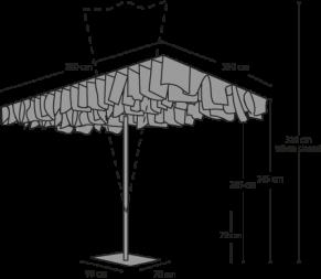 Parasol Breezer - Afmetingen