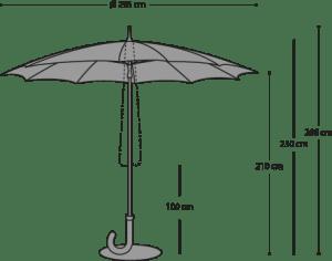 Parasol Gulliver - Afmetingen