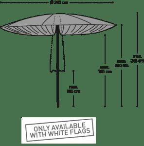 Parasol Paddo - Afmetingen