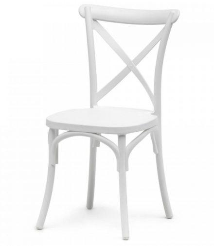 stapelstoel crossback oxford kunststof wit