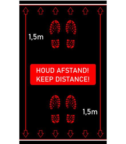 vloermat afstand houden voetstappen zwart rood wit