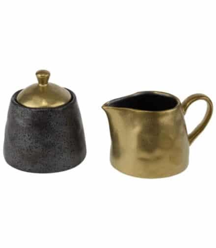 Ceylon melk en suikerset zwart-goud