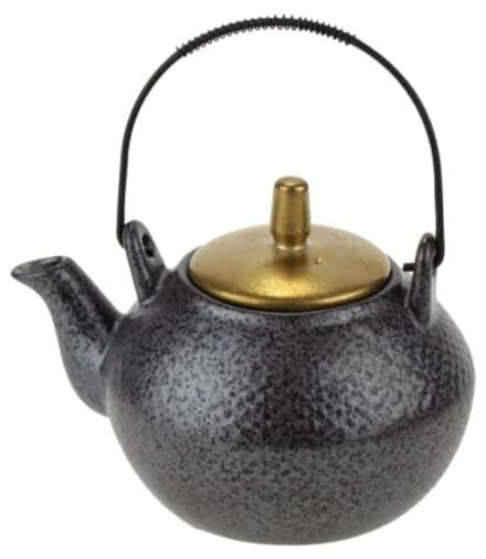 Ceylon theepot zwart-goud